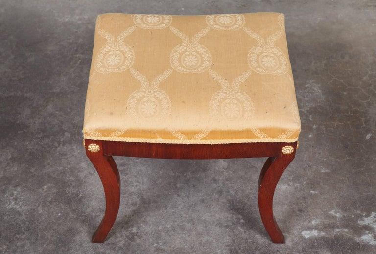 Pair of Early 19th Century Swedish Empire Mahogany Stools For Sale 1