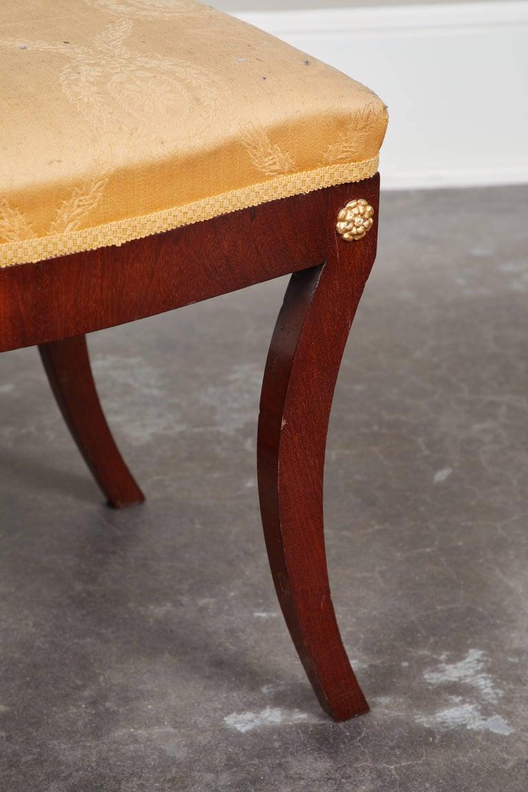 Pair of Early 19th Century Swedish Empire Mahogany Stools For Sale 2
