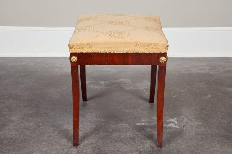 Pair of Early 19th Century Swedish Empire Mahogany Stools For Sale 3