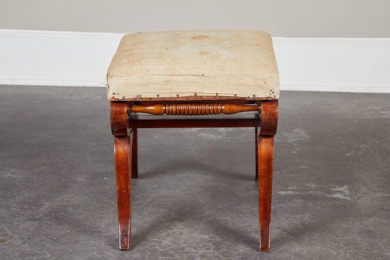Set of Four Early 19th Century Swedish Mahogany Stools In Good Condition For Sale In South Pasadena, CA