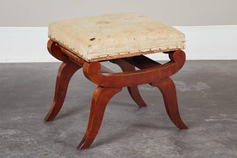 Set of Four Early 19th Century Swedish Mahogany Stools For Sale 4