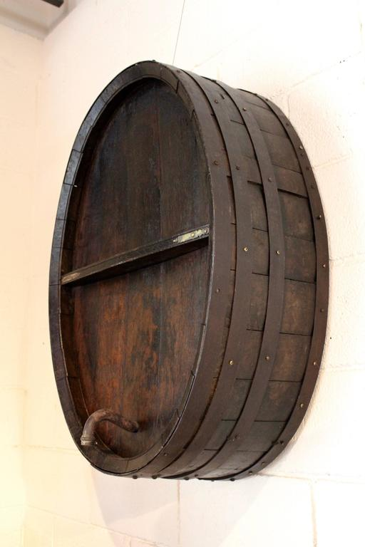Antique French Iron Banded Wine Barrel As Wall Decor