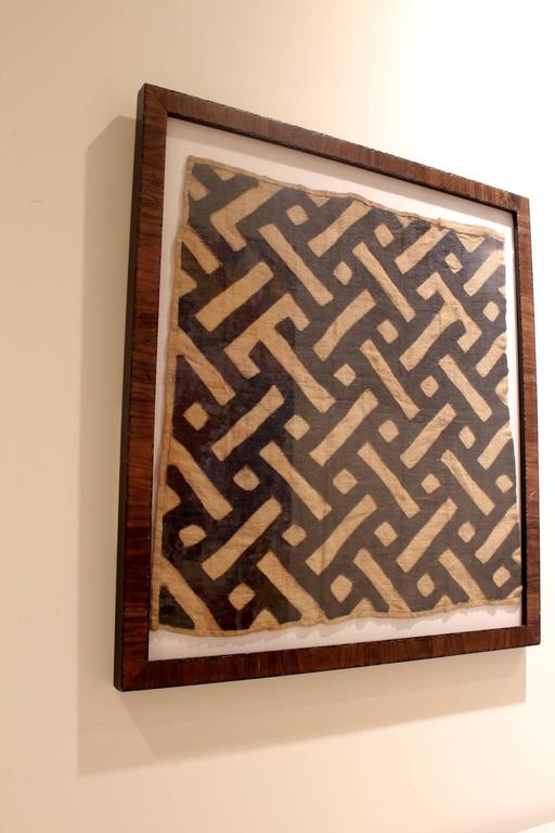 Midcentury Framed African Tribal Kuba Cloth For Sale at 1stdibs