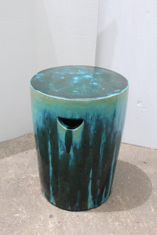Green And Blue Dipped Glazed Ceramic Garden Stools At 1stdibs