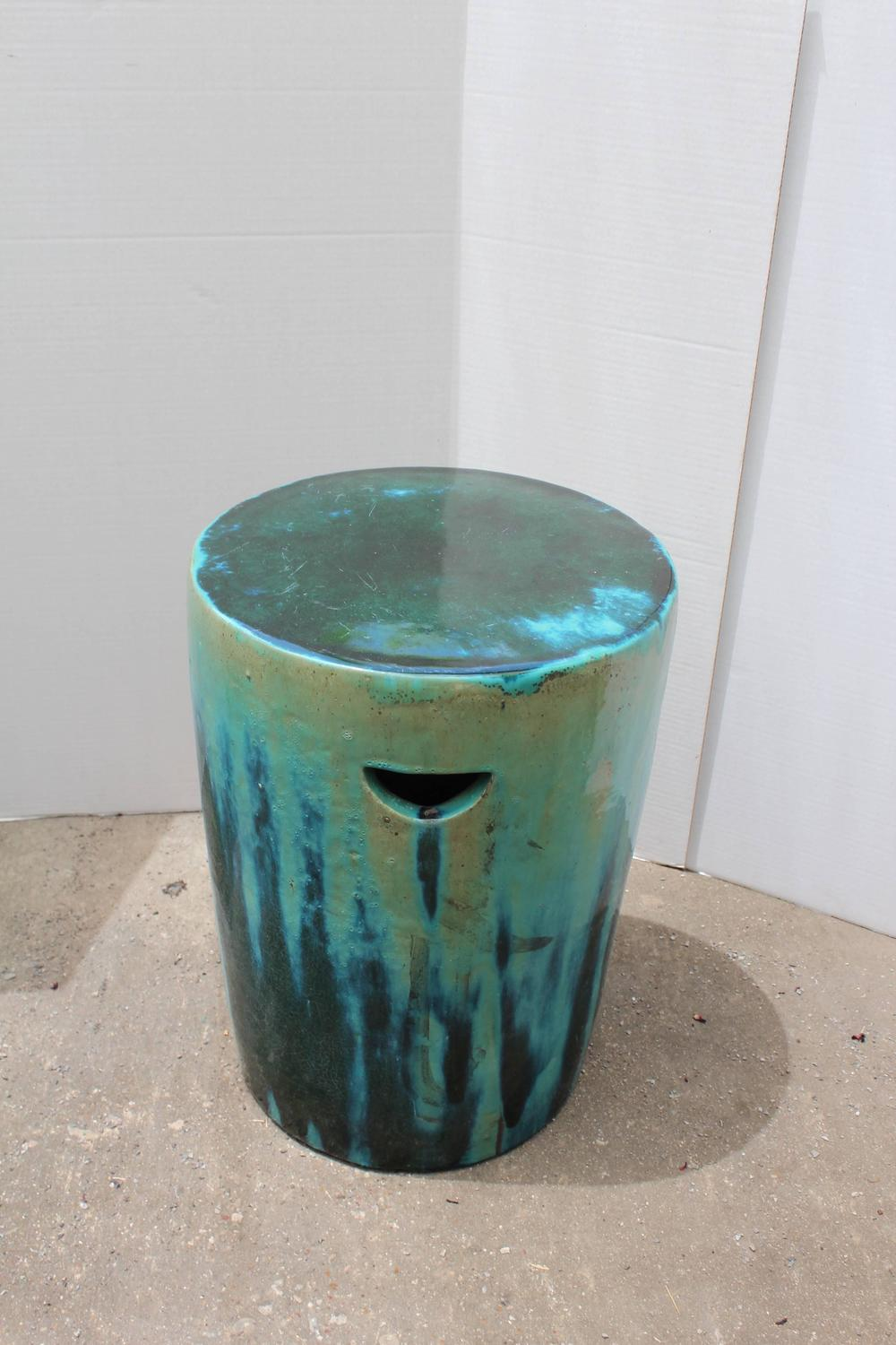 Green And Blue Dipped Glazed Ceramic Garden Stools For