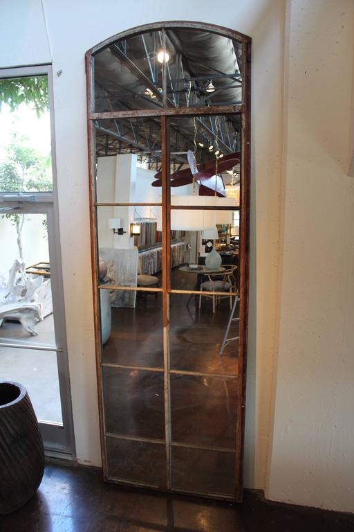 Tall Arch Industrial Window Frame Floor Mirrors At 1stdibs