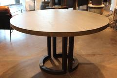 Broken Circle Steel Base Dining Table with Oak Top.