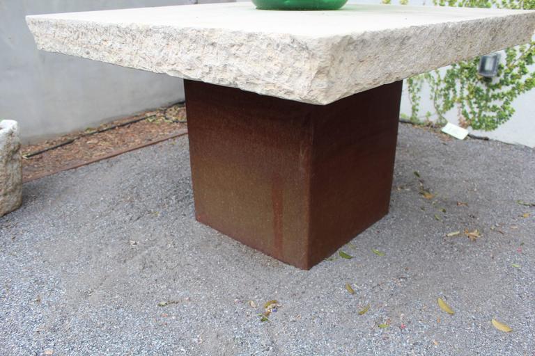 Industrial modern garden table.