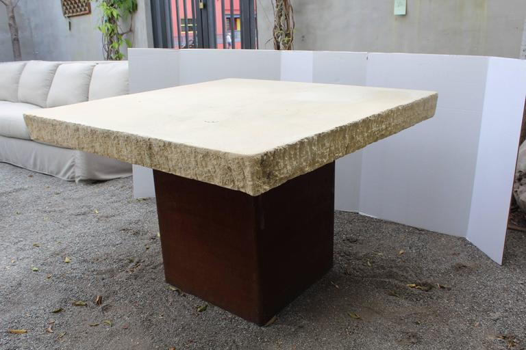 Industrial Modern Garden Dining Table In Good Condition For Sale In Dallas, TX
