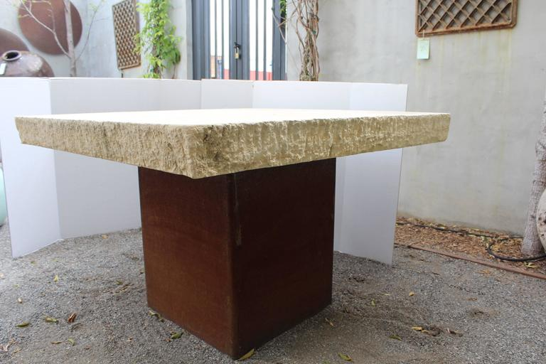 Cut Steel Industrial Modern Garden Dining Table For Sale