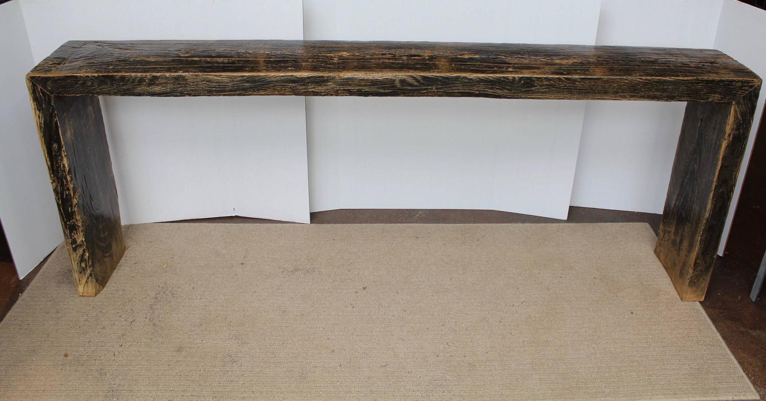 "Antique Elm Narrow Console Table 82""W For Sale at 1stdibs"