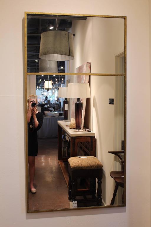 Long Vertical Gold Wall Mirror At 1stdibs
