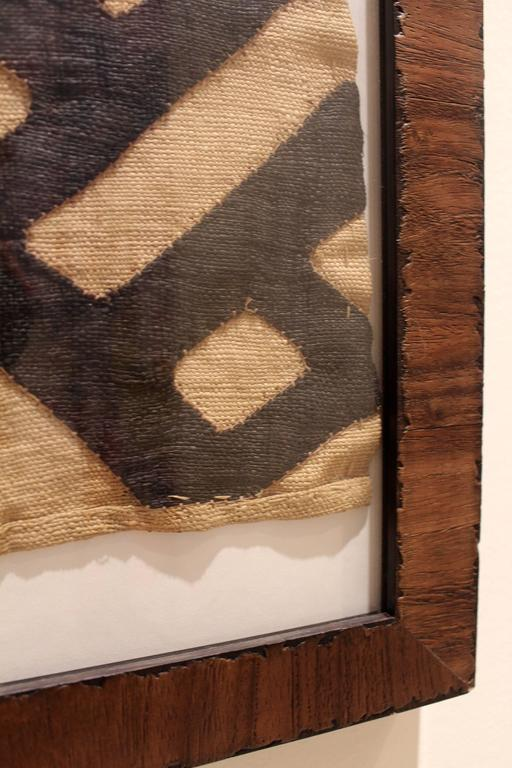 Midcentury Framed African Tribal Kuba Cloth For Sale At
