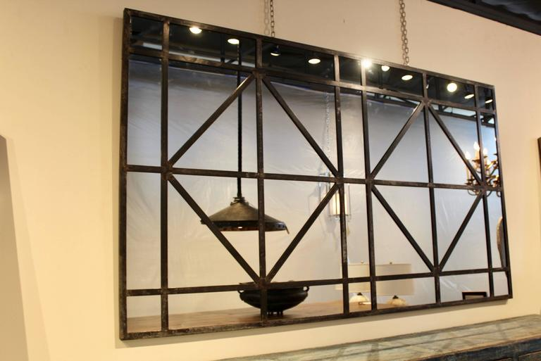 Large Industrial Window Frame Mirror At 1stdibs
