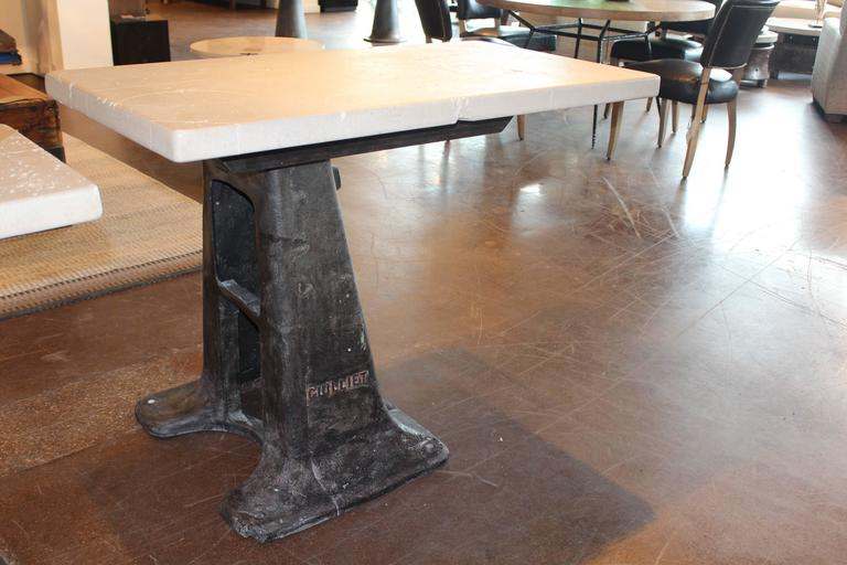 Industrial Antique Machine Mount with Limestone Top as Work Desk For Sale - Antique Machine Mount With Limestone Top As Work Desk For Sale At