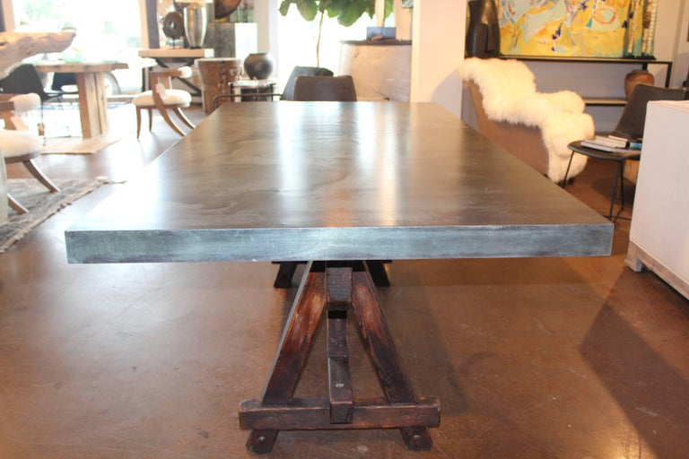 20th Century Vintage French Tradesman S Sawhorse As Dining Table With Patinated Zinc Top For