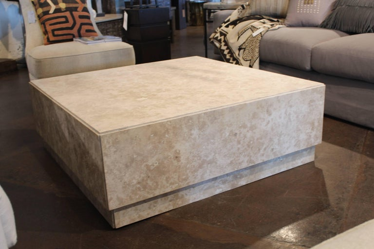 Contemporary Coffee Table With Mitered Corners In Honed Travertine Marble For Sale At 1stdibs