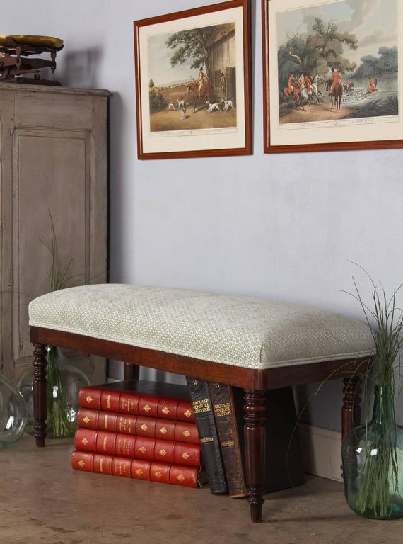 French Louis Philippe Style Upholstered Bench Early 1900s
