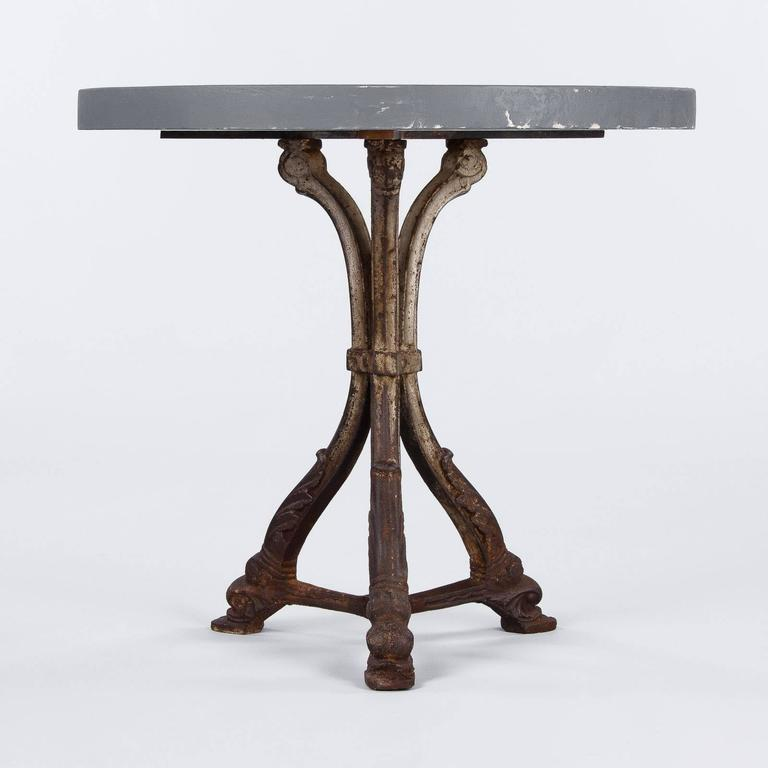 20th Century French Art Nouveau Period Iron Pedestal Table with Concrete Top, 1910s For Sale