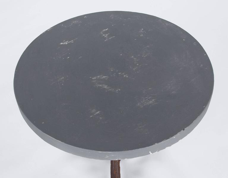 Painted French Art Nouveau Period Iron Pedestal Table with Concrete Top, 1910s For Sale