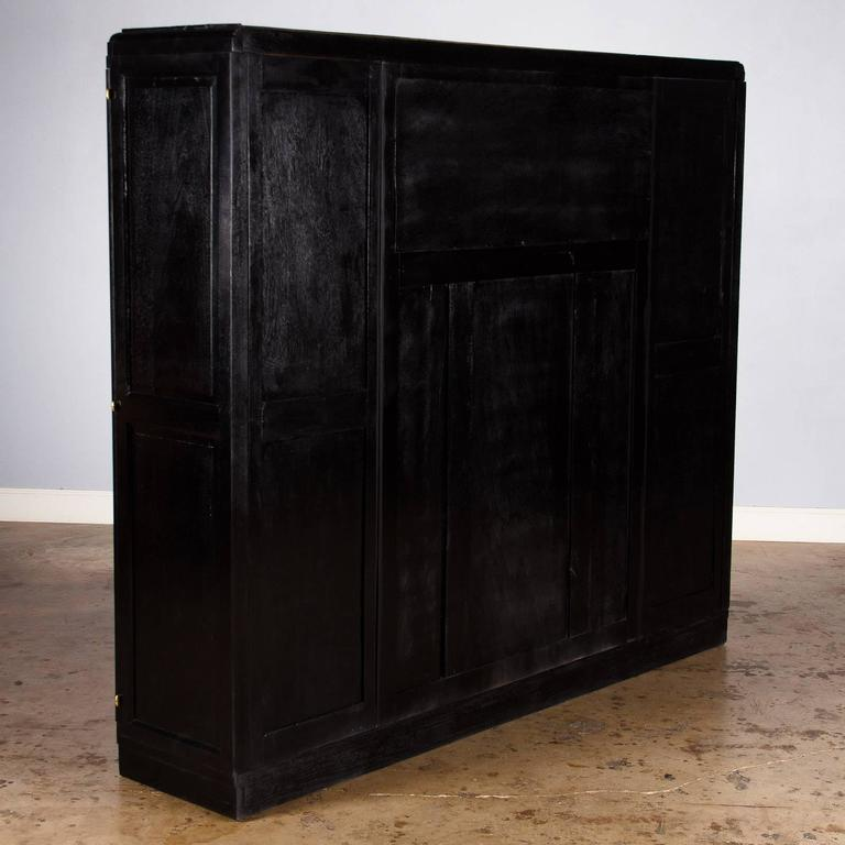 French Art Deco Cabinet Painted Black, 1930s 10