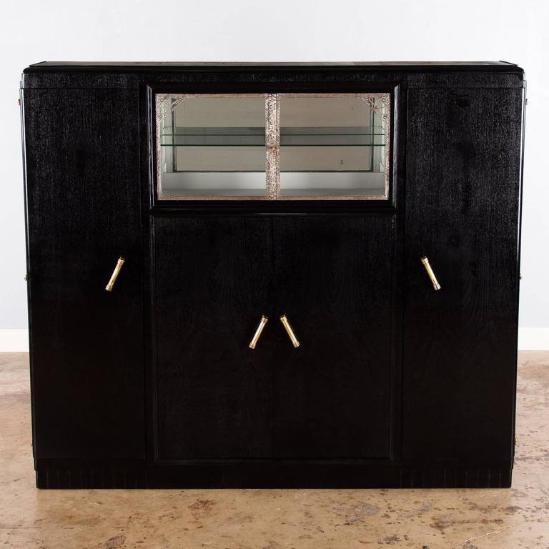 French Art Deco Armoire Painted Black, 1930s In Good Condition For Sale In Austin, TX