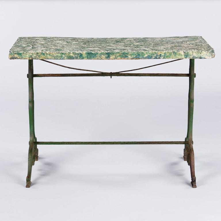 Painted Late 1800s French Concrete Top Garden Table with Cast Iron Base For Sale