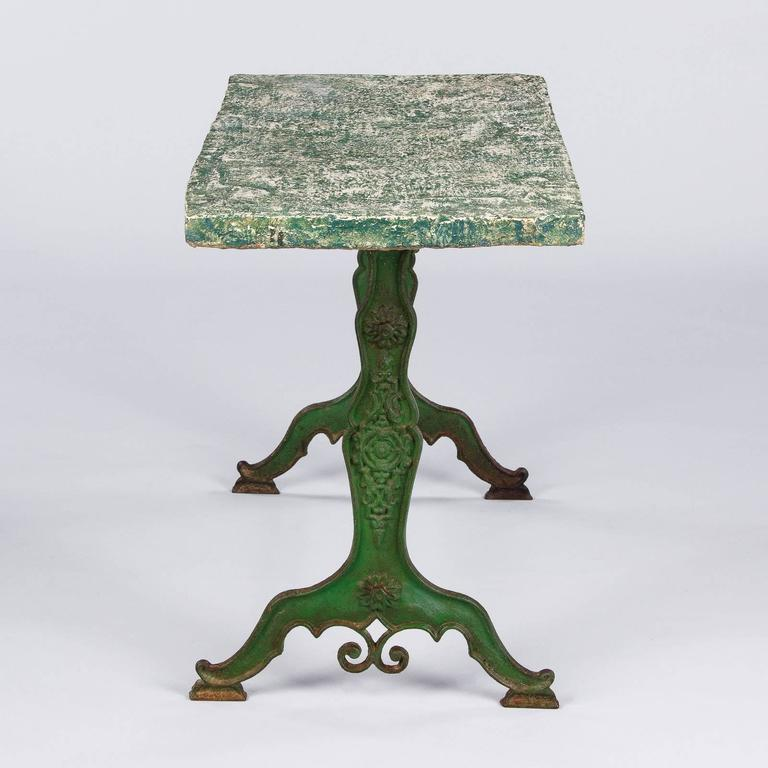 Late 1800s French Concrete Top Garden Table with Cast Iron Base For Sale 4