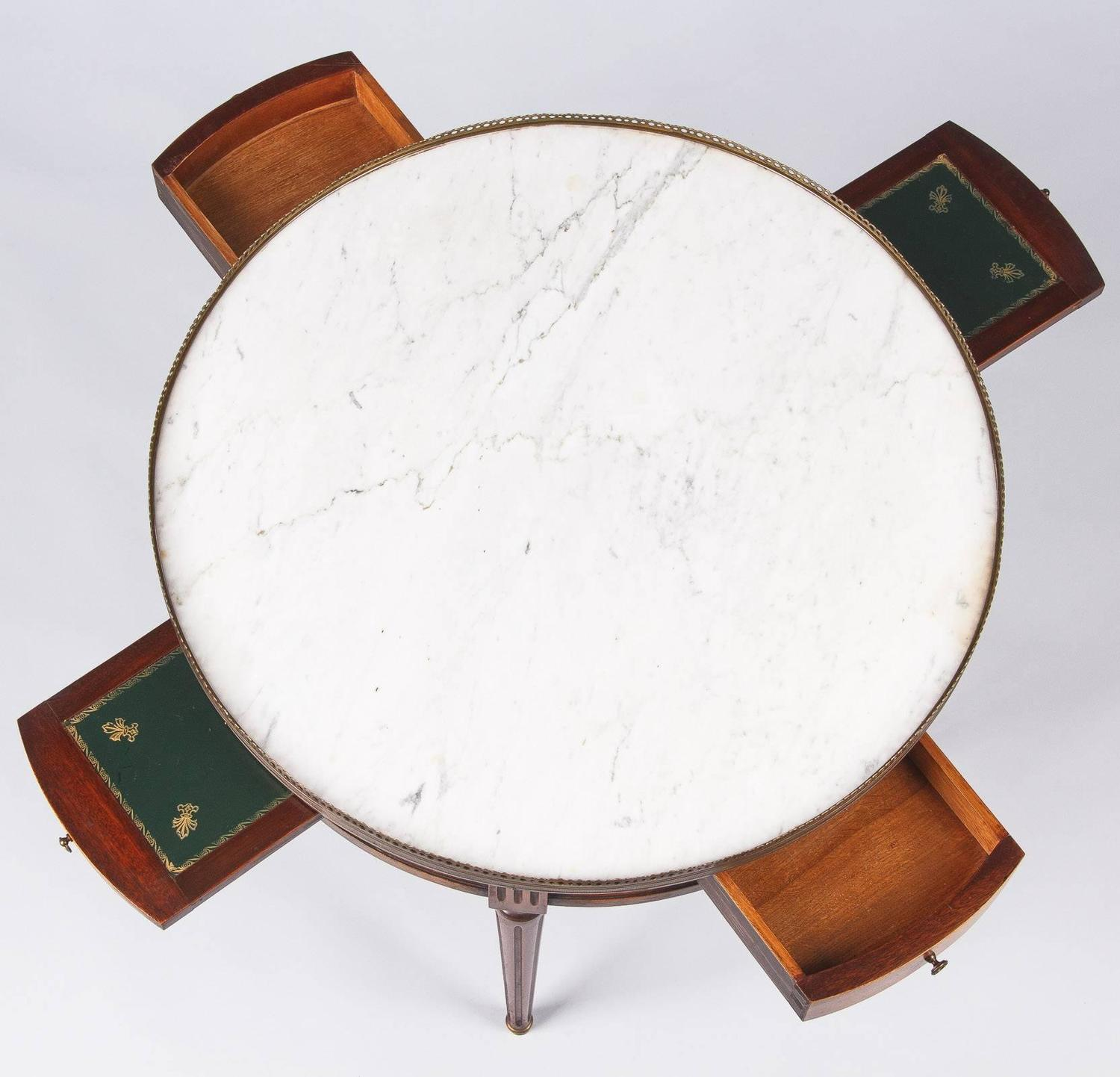 Z Gallerie Marble Coffee Table: Louis XVI Style Marble-Top Coffee Or Side Table, Early
