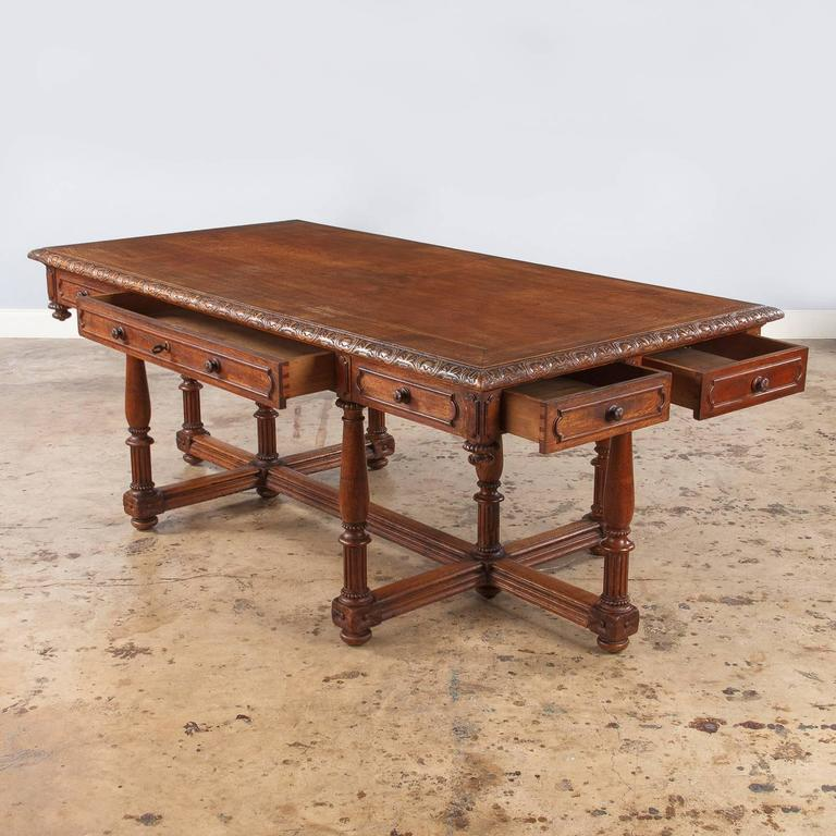 French Renaissance Revival Style Oak Library Table Or Desk