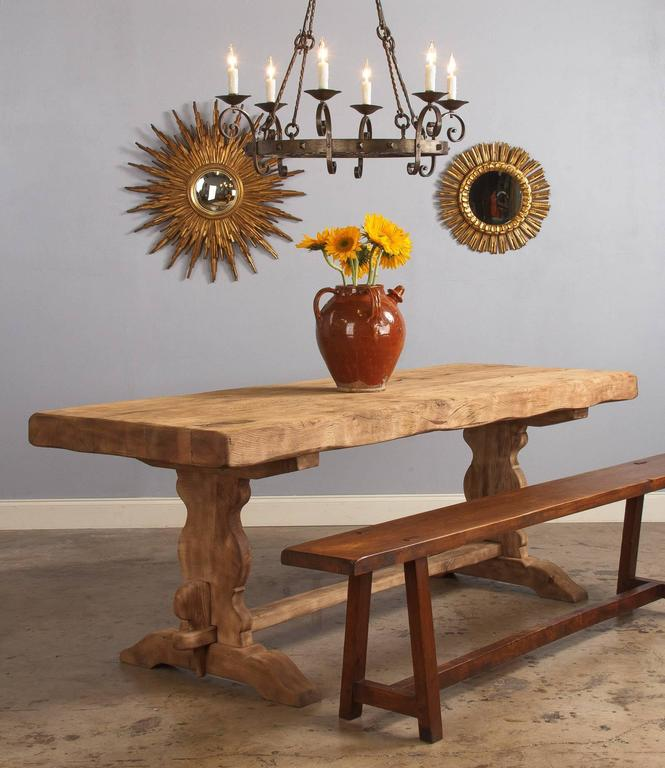A washed oak French trestle table from the Beaujolais region with a splendid 3.75