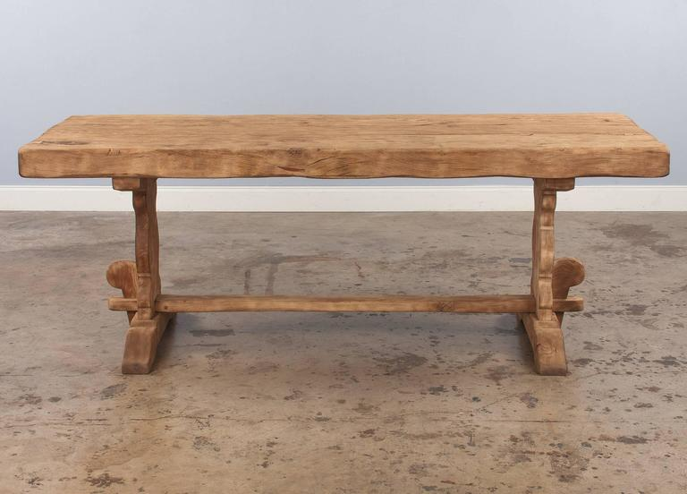 20th Century French Country Washed Oak Trestle Table, Early 1900s For Sale
