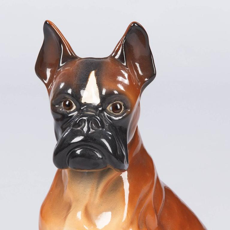 French Ceramic Boxer Figurine, 1950s For Sale 2