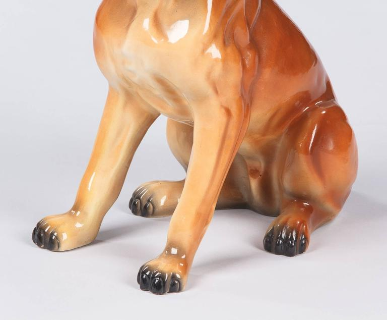 French Ceramic Boxer Figurine, 1950s For Sale 3