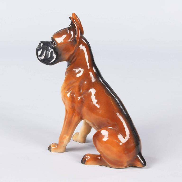 French Ceramic Boxer Figurine, 1950s In Good Condition For Sale In Austin, TX