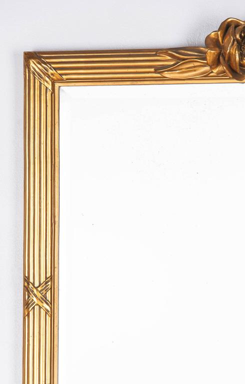 Beveled Louis XVI Style Giltwood Mirror, circa 1930s For Sale