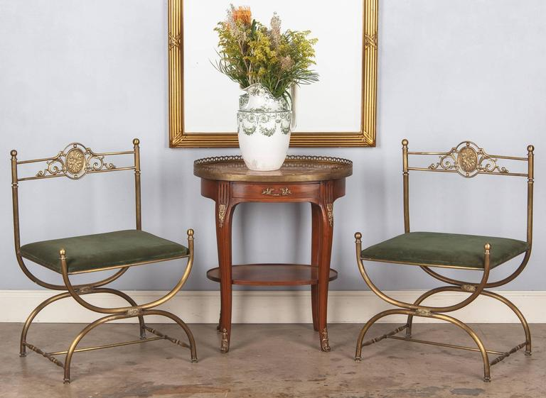French Louis XV/Louis XVI Style Oval Marble Top Side Table, 1920s For