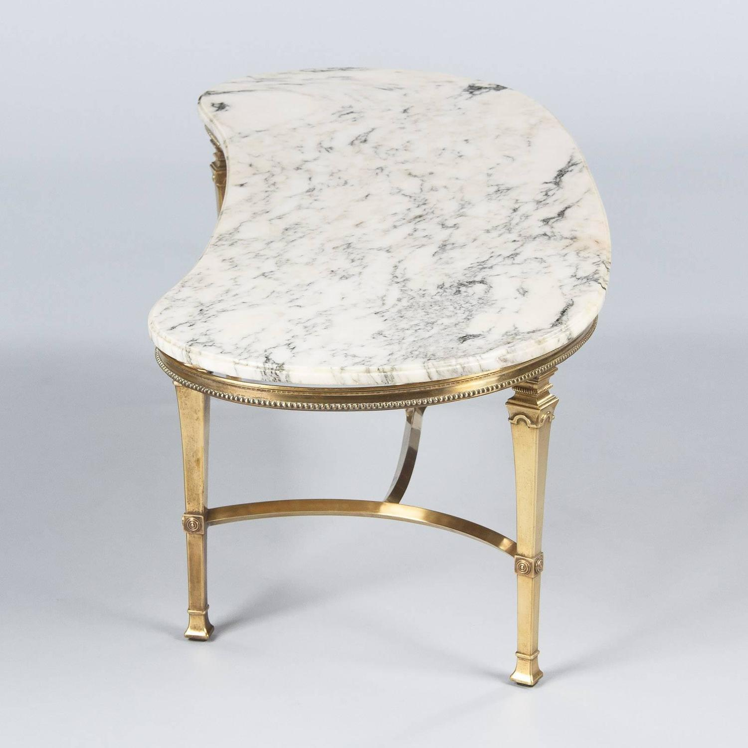 Mid Century Marble Top Kidney Shaped Brass Coffee Table For Sale At 1stdibs