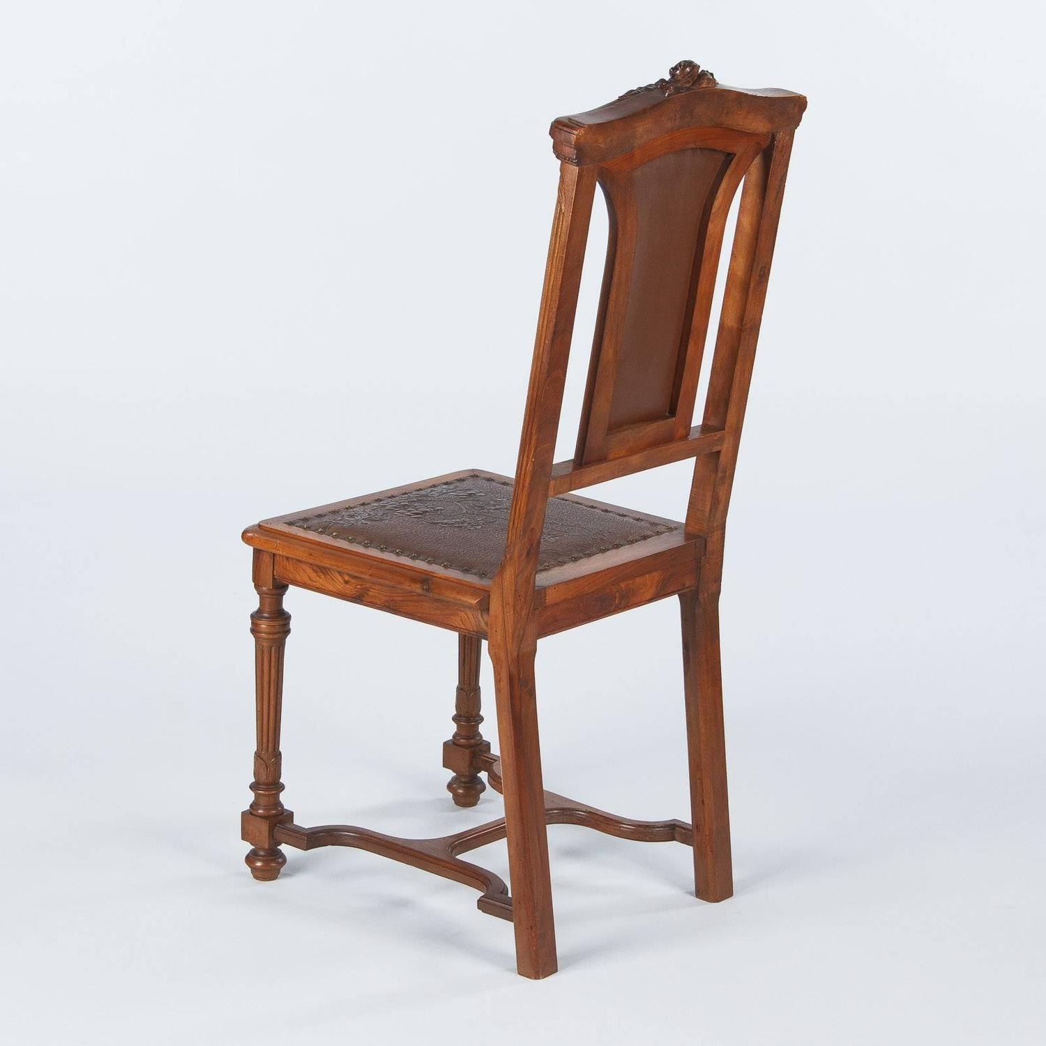 French Renaissance Style Leather Seat Chair Late 1800s
