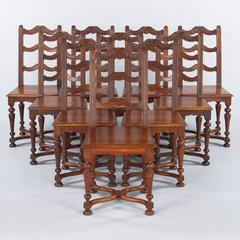 Set of 10 French Louis XIV Style Walnut Dining Chairs, Circa 1920s