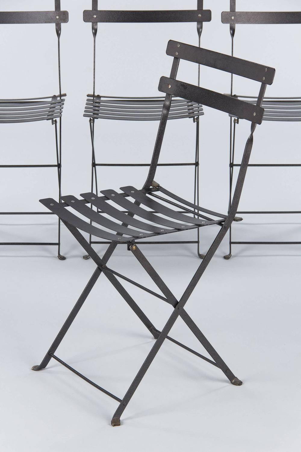 Set Of Four French Folding Bistro Metal Side Chairs By