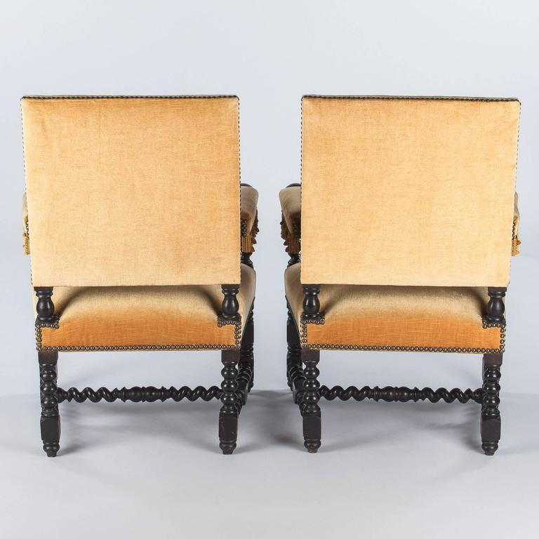 Pair of Louis XIII Style Ebonized Wood and Upholstered Armchairs, 1870s For Sale 3