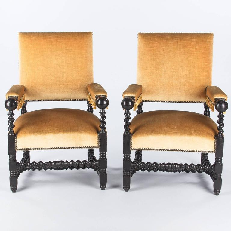 French Pair of Louis XIII Style Ebonized Wood and Upholstered Armchairs, 1870s For Sale