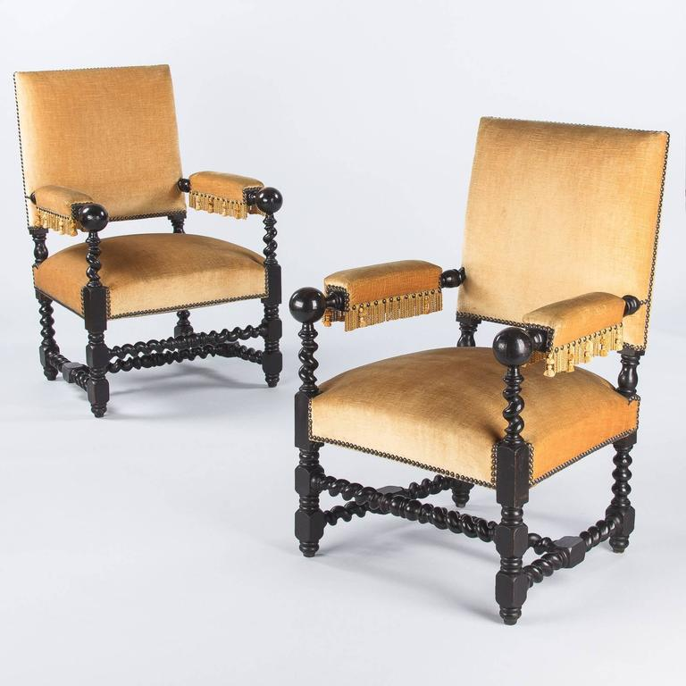 Pair of Louis XIII Style Ebonized Wood and Upholstered Armchairs, 1870s For Sale 4