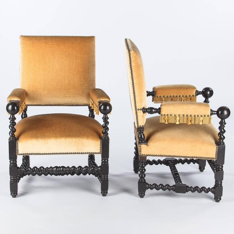Pair of Louis XIII Style Ebonized Wood and Upholstered Armchairs, 1870s In Good Condition For Sale In Austin, TX