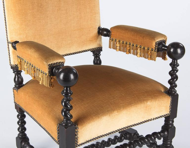 Late 19th Century Pair of Louis XIII Style Ebonized Wood and Upholstered Armchairs, 1870s For Sale