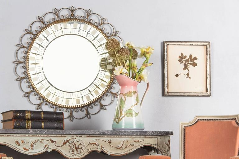 Mid-Century French Brass Round Mirror with Etched Glass 2