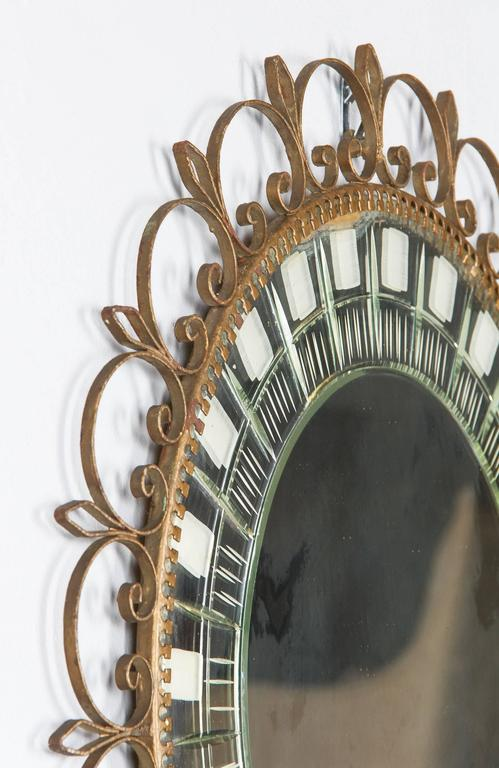 Mid-Century French Brass Round Mirror with Etched Glass 7