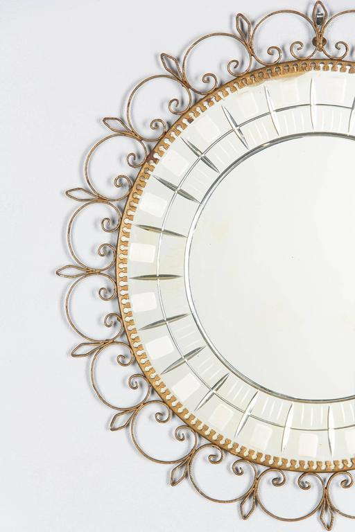 Mid-Century French Brass Round Mirror with Etched Glass 3