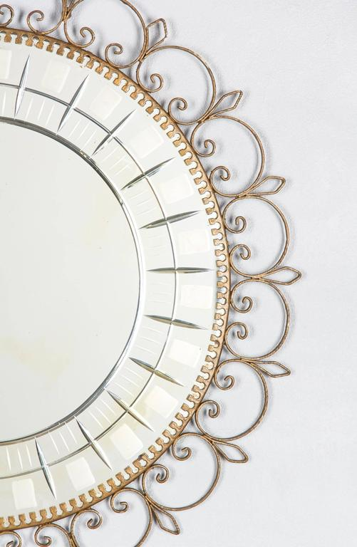 Mid-Century French Brass Round Mirror with Etched Glass 4